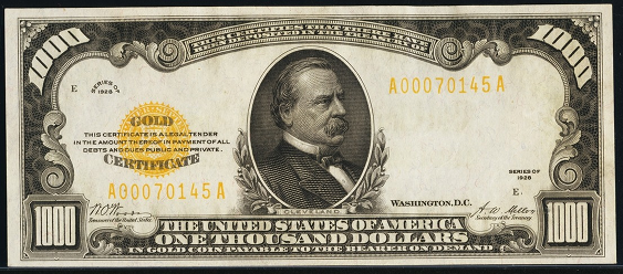 1928 One Thousand Dollar Gold Certificate
