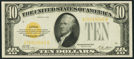 1928 $10 Gold Certificate Value - How much is 1928 $10 Bill Worth ...