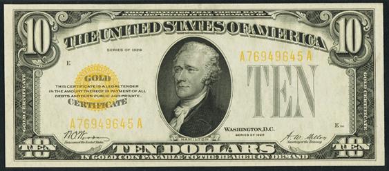 1928 Ten Dollar Gold Certificate