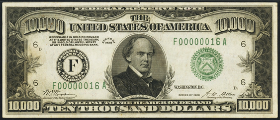 1928 Ten Thousand Dollar Federal Reserve Note