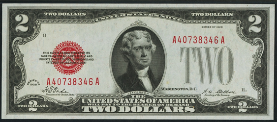 1928 Two Dollar Legal Tender Or United States Note