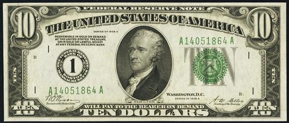 1928a Ten Dollar Federal Reserve Note