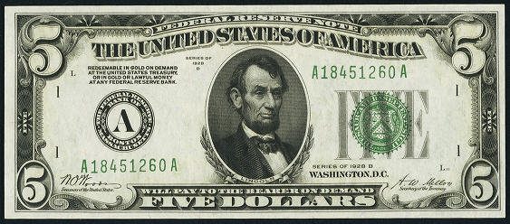 1928b Five Dollar Federal Reserve Note