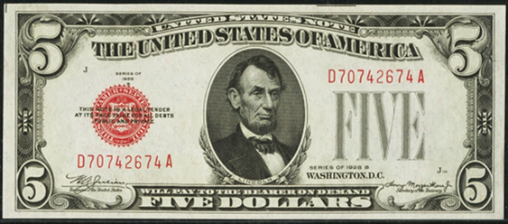 1928b Five Dollar Legal Tender Or United States Note