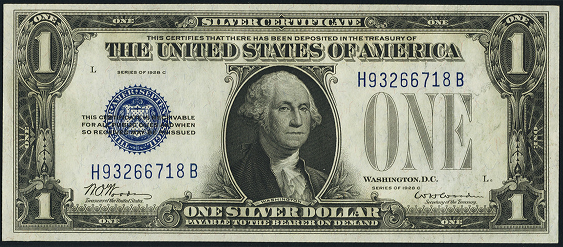 1928c One Dollar Silver Certificate