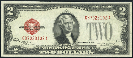 1928d Two Dollar Legal Tender Or United States Note