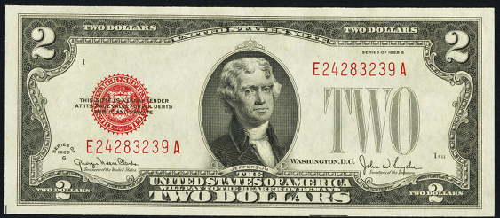 1928g Two Dollar Legal Tender Or United States Note