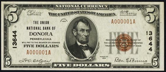 1929 \$5 Type 1 - Front
