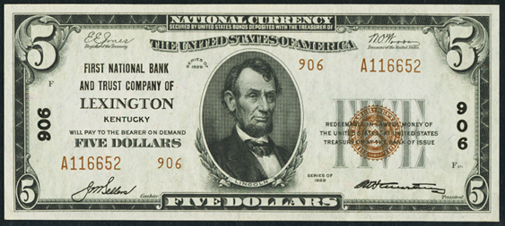 1929 \$5 Type 2 - Front