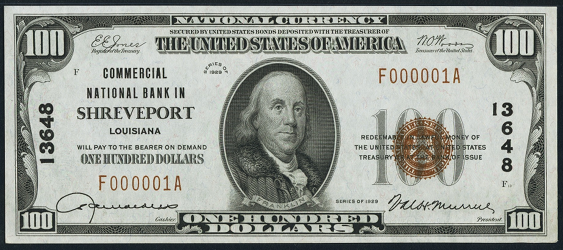 1929 $100 Type 1 - Front