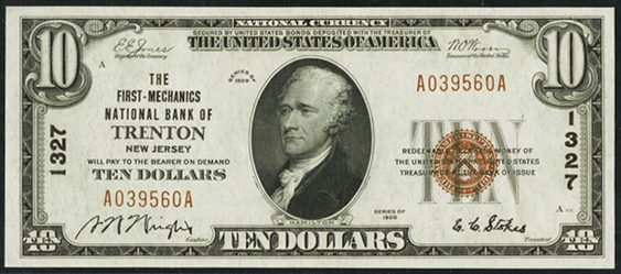 1929 \$10 Type 1 - Front