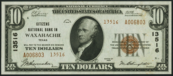 1929 \$10 Type 2 - Front