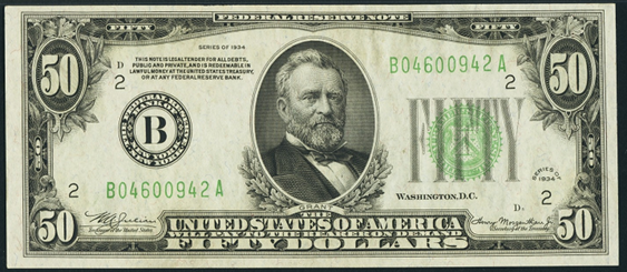 1934 Fifty Dollar Federal Reserve Note