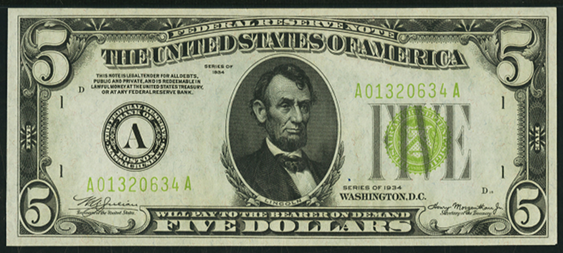 1934 Five Dollar Federal Reserve Note