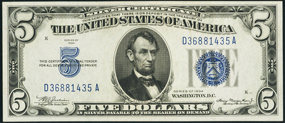 1934 $5 Silver Certificate Value - How much is 1934 $5 Bill Worth ...