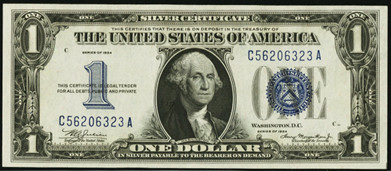 1934 One Dollar Silver Certificate