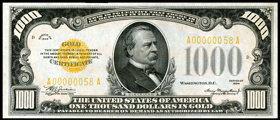 1934 One Thousand Dollar Gold Certificate