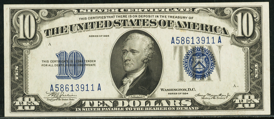 1934 $10 Silver Certificate Value - How much is 1934 $10 Bill Worth ...