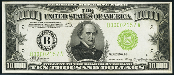 1934 Ten Thousand Dollar Federal Reserve Note