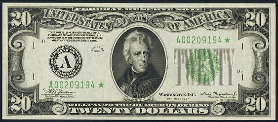 1934 Twenty Dollar Federal Reserve Note
