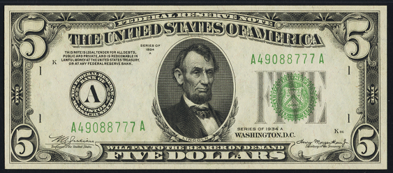 1934a Five Dollar Federal Reserve Note