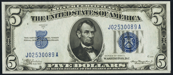1934A $5 Silver Certificate Value - How much is 1934A $5 Bill Worth ...