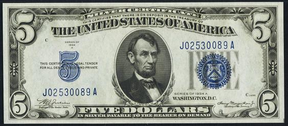 1934a Five Dollar Silver Certificate