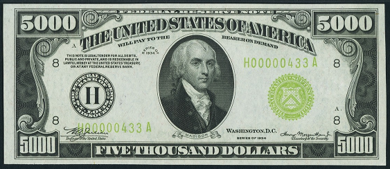 1934a Five Thousand Dollar Federal Reserve Note