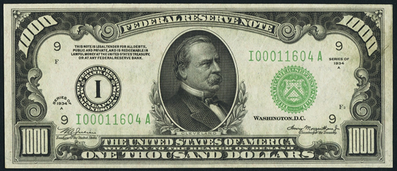 1934a One Thousand Dollar Federal Reserve Note