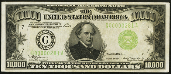 1934a Ten Thousand Dollar Federal Reserve Note