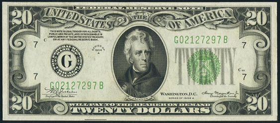 1934a Twenty Dollar Federal Reserve Note