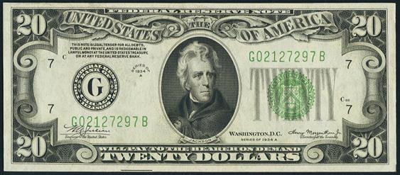 1934a Twenty Dollar Federal Reserve Note