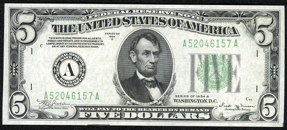 1934b Five Dollar Federal Reserve Note