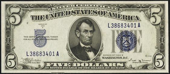1934b Five Dollar Silver Certificate