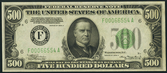 1934b Five Hundred Dollar Federal Reserve Note