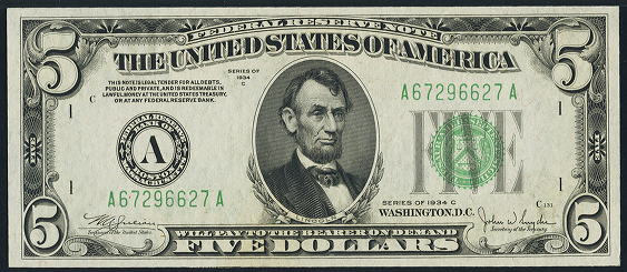 1934c Five Dollar Federal Reserve Note
