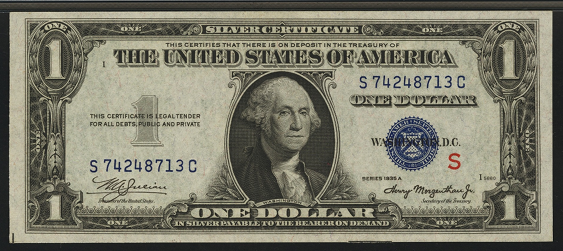 1935a S One Dollar Silver Certificate