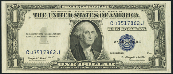 1935g One Dollar Silver Certificate