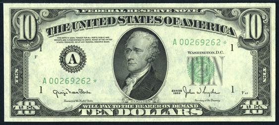 1950 Ten Dollar Federal Reserve Note