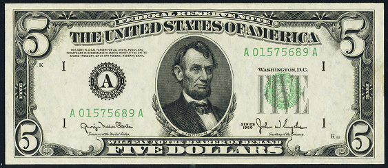 1950a Five Dollar Federal Reserve Note