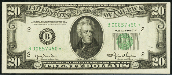 1950d Twenty Dollar Federal Reserve Note