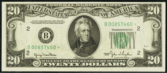 1950d Twenty Dollar Federal Reserve Note