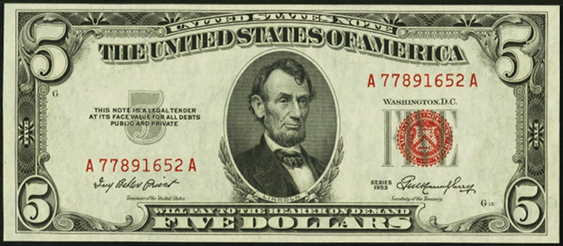 1953 Five Dollar Legal Tender Or United States Note