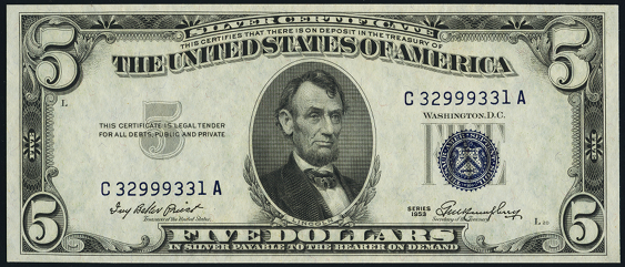 1953 $5 Silver Certificate Value - How much is 1953 $5 Bill Worth ...