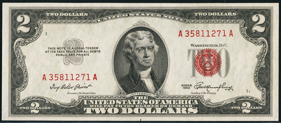 1953 Two Dollar Legal Tender Or United States Note