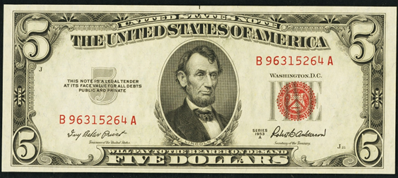 1953a Five Dollar Legal Tender Or United States Note