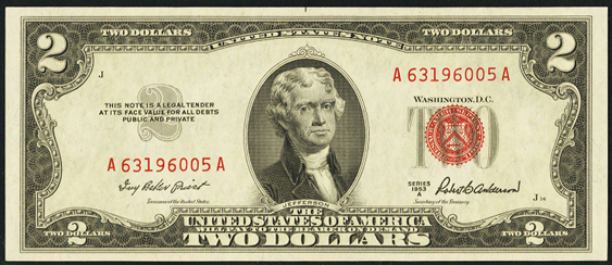 1953a Two Dollar Legal Tender Or United States Note