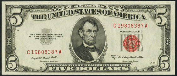 1953b Five Dollar Legal Tender Or United States Note