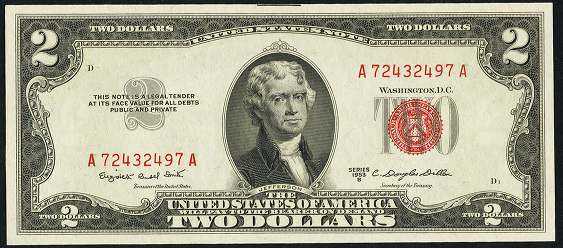 1953b Two Dollar Legal Tender Or United States Note