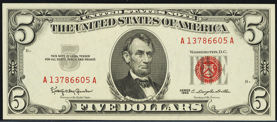 1963 Five Dollar Legal Tender Or United States Note